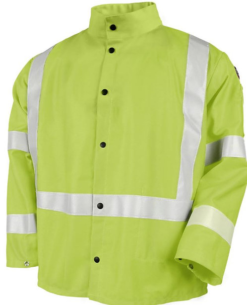 Black Stallion Safety Welding Jacket with FR Reflective Tape; JF1012-LM