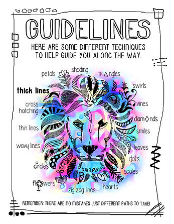 This is the GUIDLINES page from LINEFULNESS: The Backwards Coloring Book. It shows a variety of techniques a person can use to add lines to their coloring book pages.