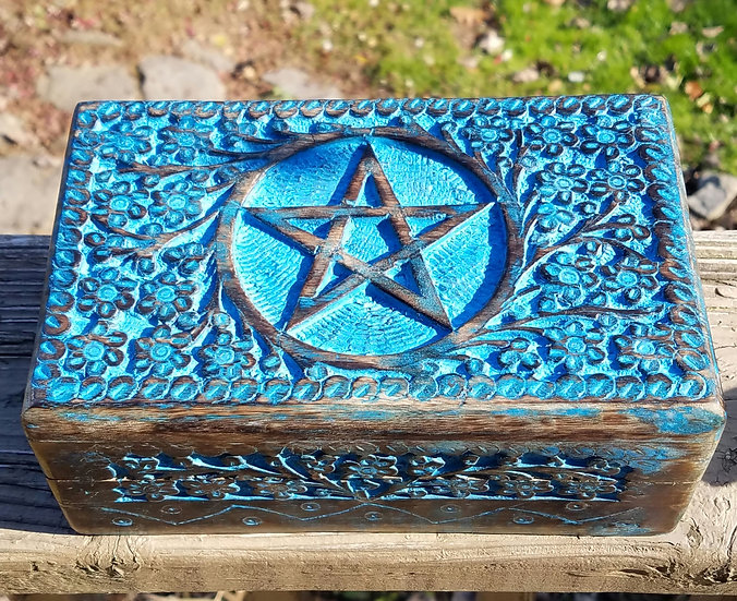 Wooden Pentacle Tarot Box