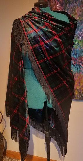 Scottish Tartan Velvet Shawl w/black