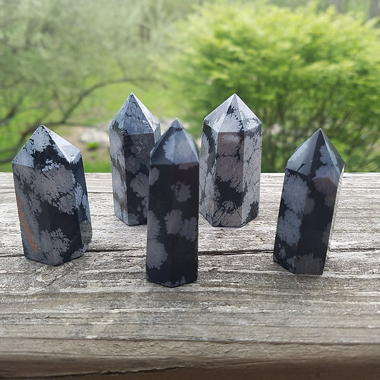 "Snowflake Obsidian Tower 2.75"""