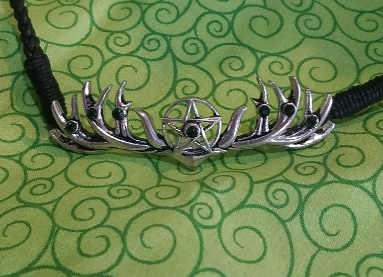 Antler and Pentacle Pewter Headband