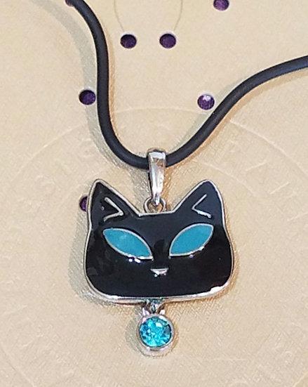 Tiffany Style Black Cat Necklace