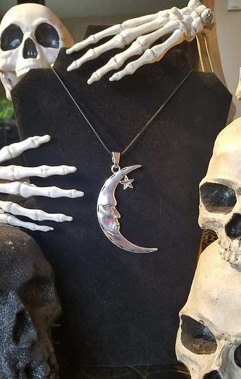 Large Cresent Moon Necklace`