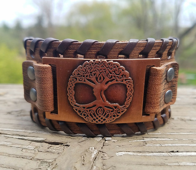 Copper Tree of Life Leather Cuff