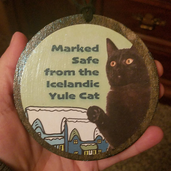 Marked Safe Yule Cat Ornament