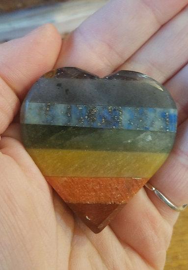 Chakra Rainbow Crystal Heart