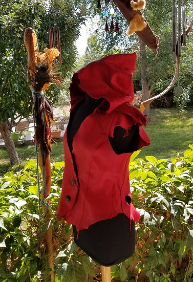 Leather Red Riding Hood Vest