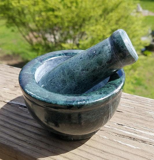 Green Marble Mortar & Pestle