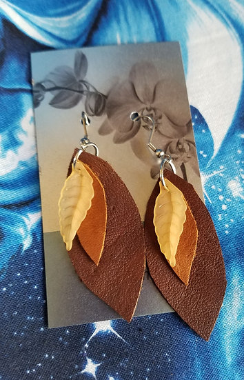Iron Orchid Leather Earrings