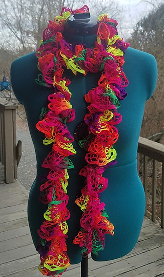 Rainbow Brite Hand Crocheted Scarf