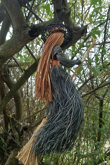 Large Hanging Straw Witch