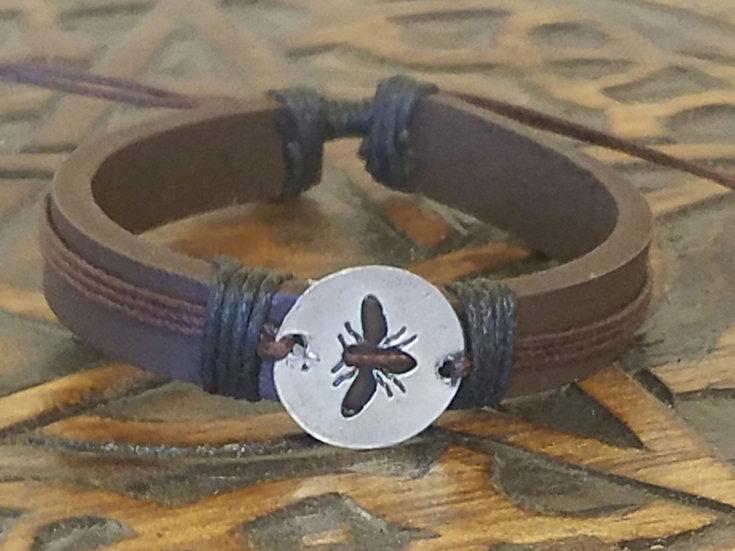 Leather & Cord Bee Bracelet