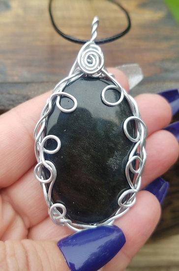 Massive Obsidian Wrapped Talisman
