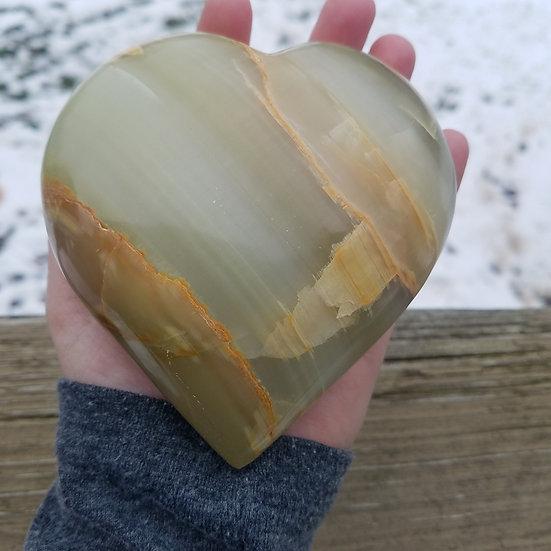 Massive Green Calcite Heart