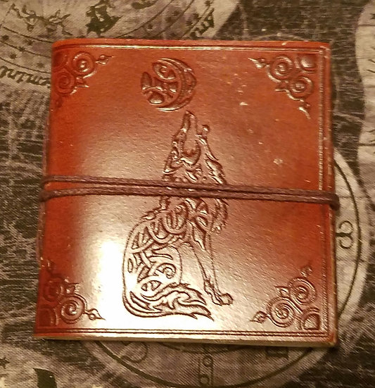 Leather Wolf Pocket Journal
