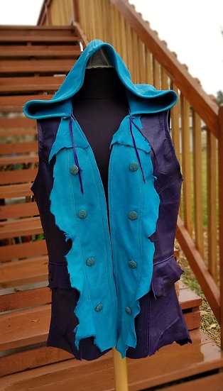 Teal & Purple Leather Vest-Size 14