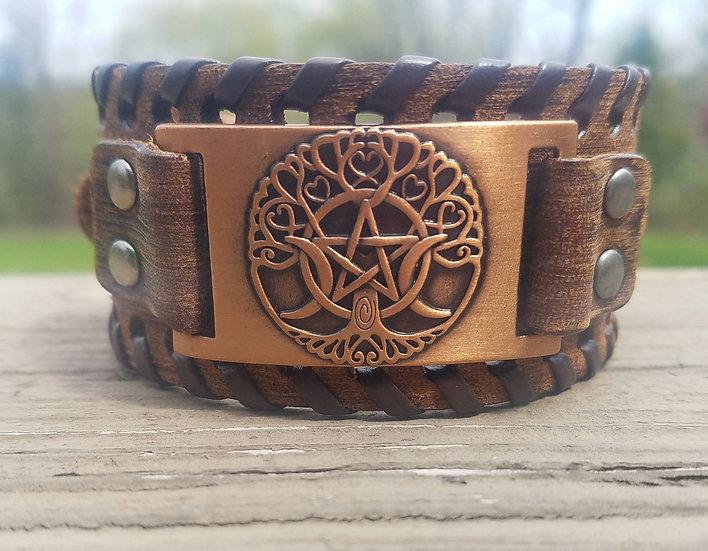 Brown & Copper Goddess Leather Cuff