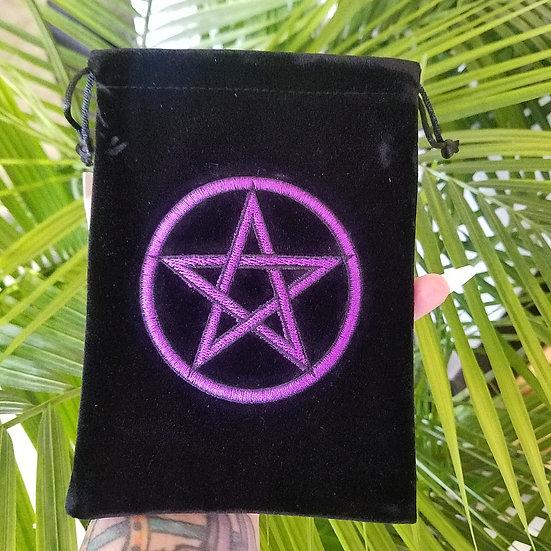 Velvet Embroidered Tarot Bag