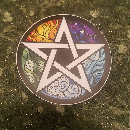 "Elements Pentacle Sticker 4"""