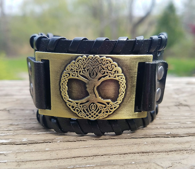 Gold Tree of Life Leather Cuff
