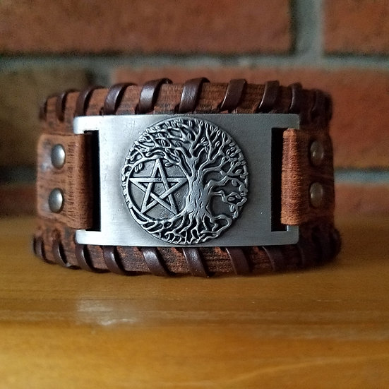 Leather Tree/Pentacle Cuff