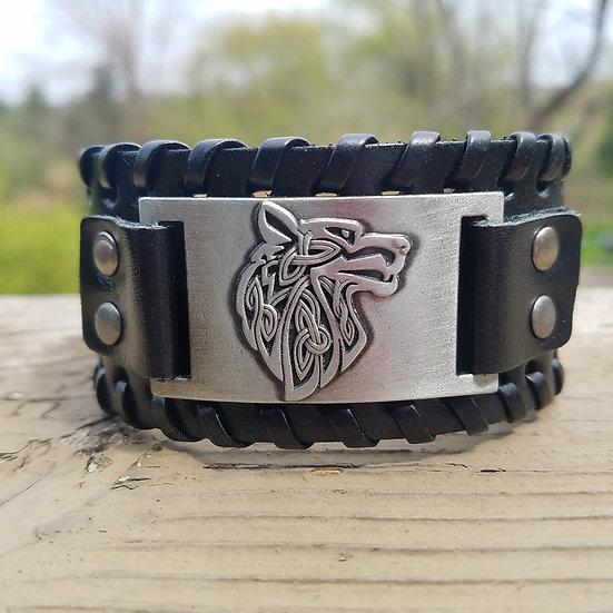Black Wolf Leather Cuff