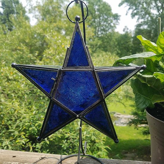 Large Blue Star Lantern
