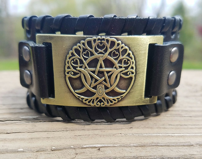Black and Gold Triple Goddess Leather Cuff
