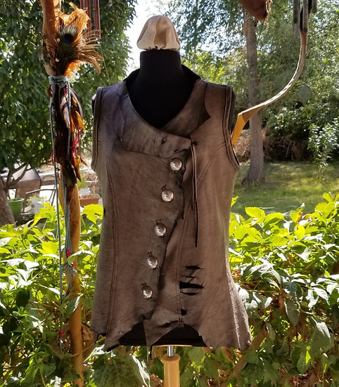 Distressed Asymmetrical Leather Vest