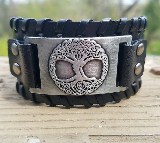 Black Tree of Life Leather Cuff