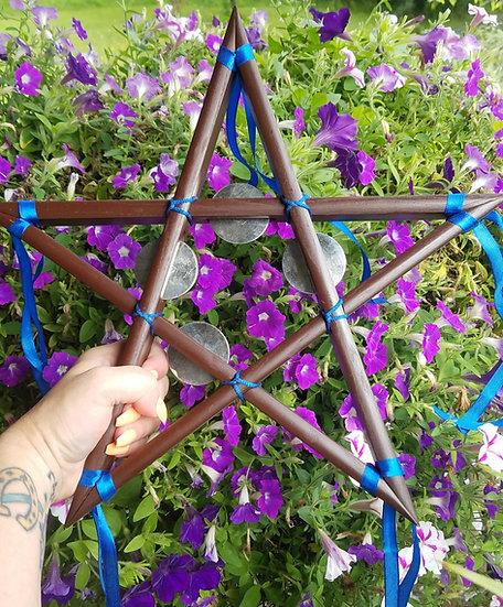 Solid Wood Pentagram Tambourine