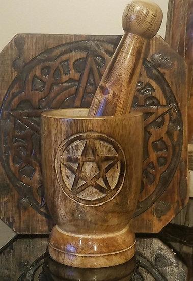 Wooden Mortar & Pestle