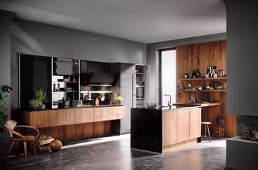 moderne Küche mit Holz Fronten