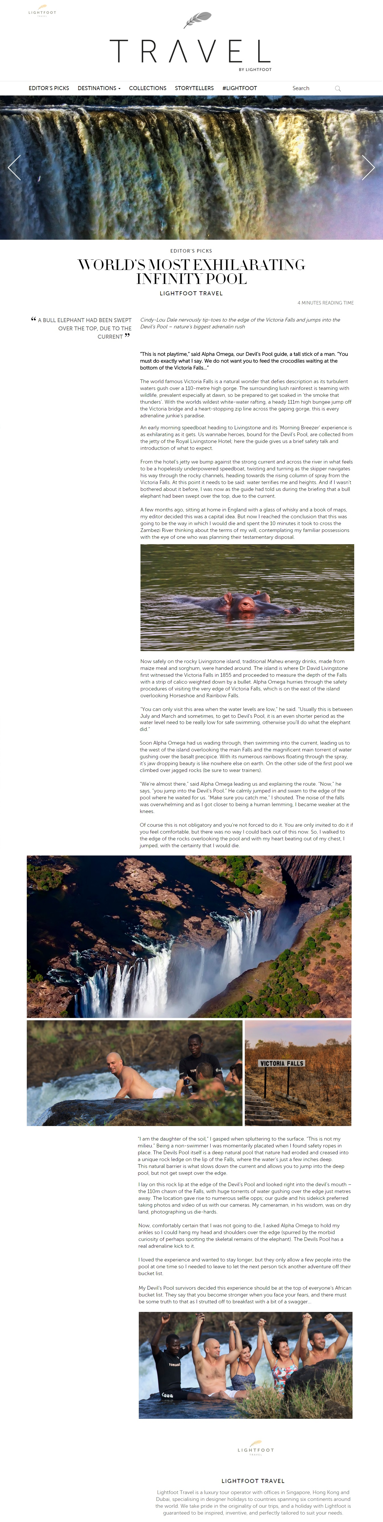 Lightfoot Travel, Malaysia - Devils Pool, Zambia