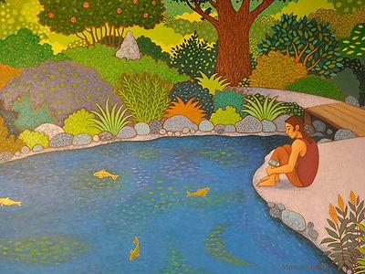 Le_jardin_aux_poissons_d'or-acrylique_su