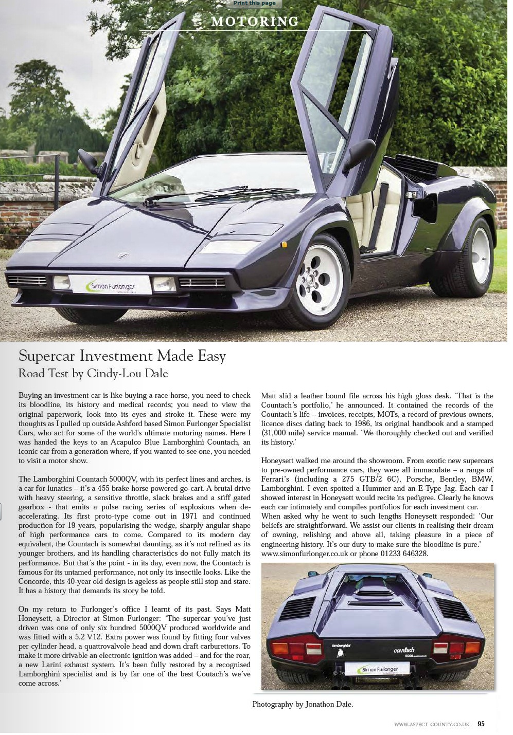 Aspect County, UK - Lambo Countach
