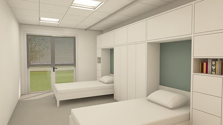 Image 3D des chambres de la Maison d'Accueil Spécialisée de Canta Galet à Nice