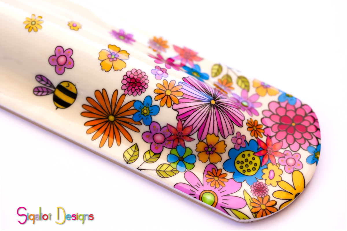 floral mezuzah case with bee (3 of 4).pn