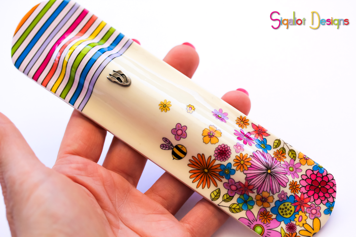 floral mezuzah case with bee (4 of 4).pn