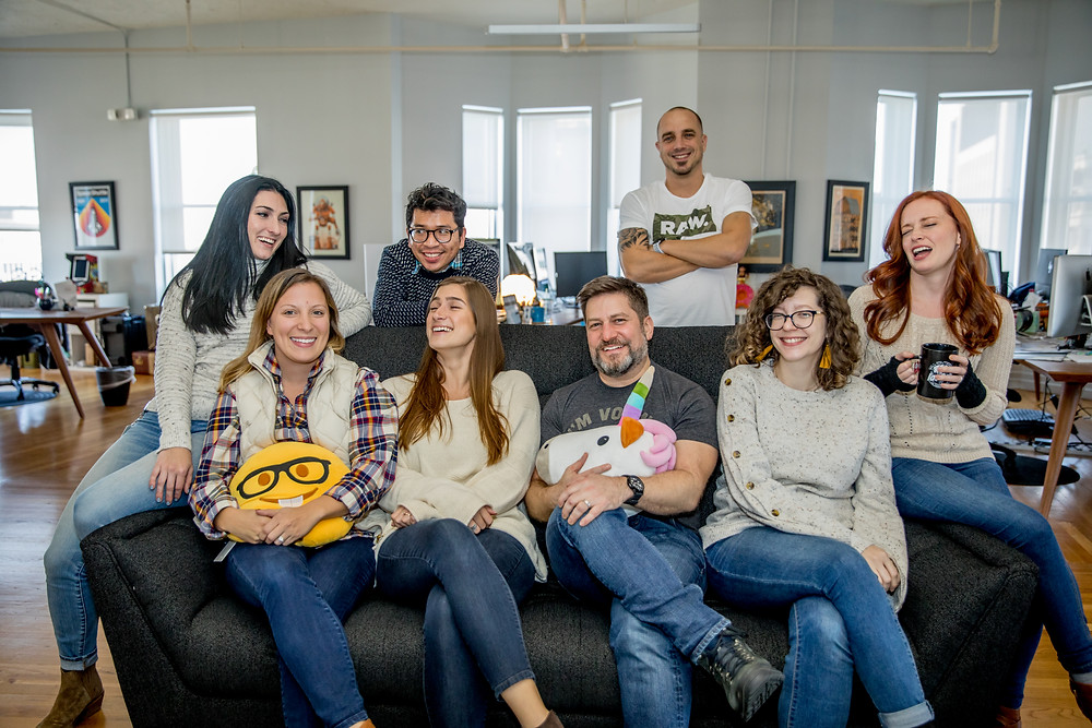 Launch, a digital agency company, hangs out in their office at FlatironCity.