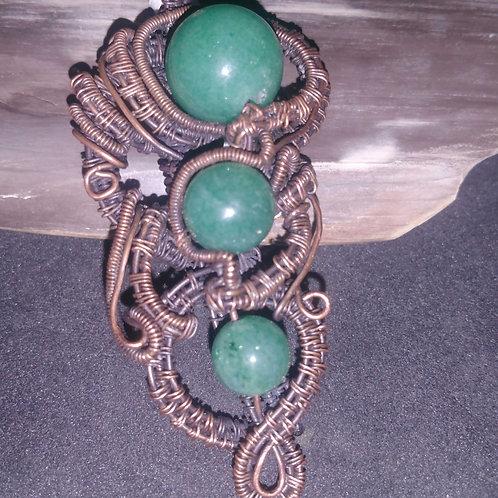 Aventurine Stone Beads in Antique Copper