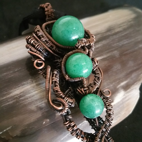 "Green Aventurine Stone of ""Opportunity"" Pendant in Copper"