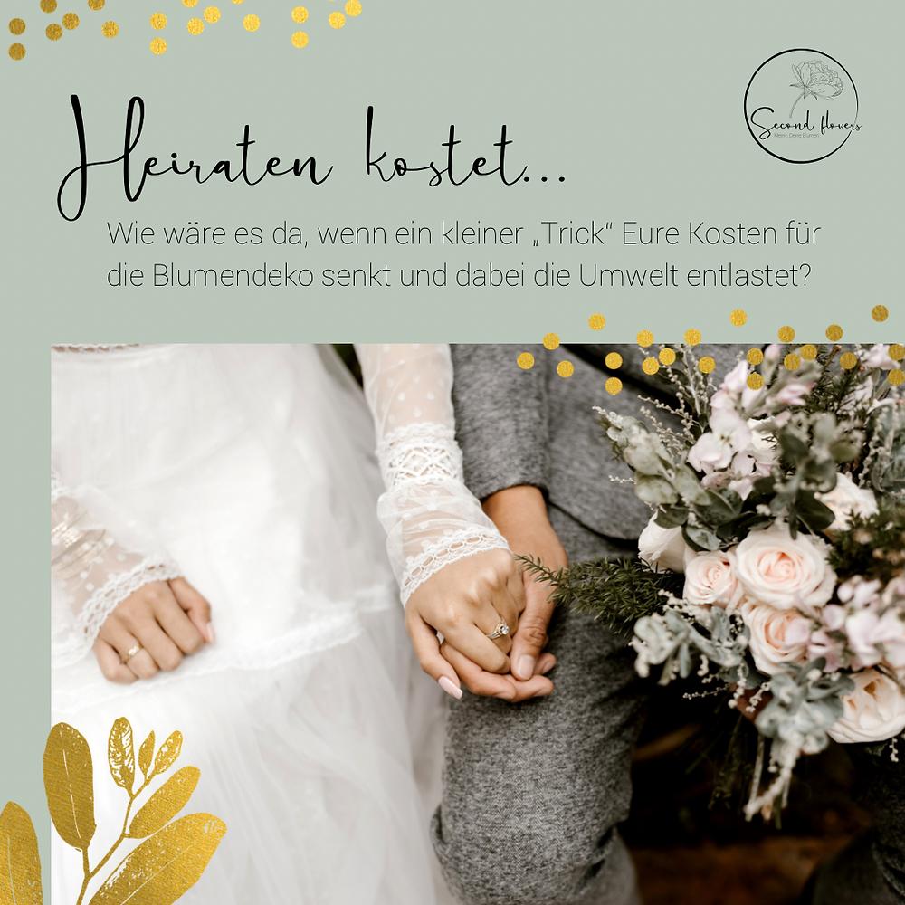 Nachhaltige Blumendeko Second flowers Event Hochzeit Brautpaar Brautstrauss gold