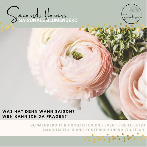 Nachhaltige Blumendeko Second flowers Event Hochzeit Ranunkel saisonale Blumendeko