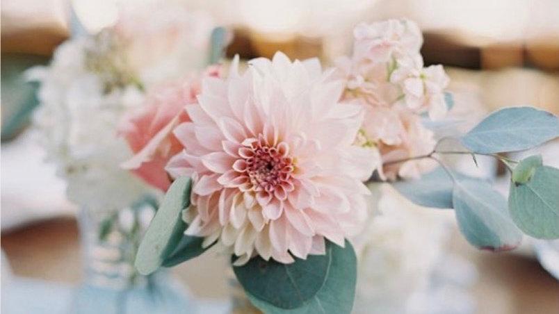 Blumenkonzept creme/ weiß/ rosé und Eukalyptus
