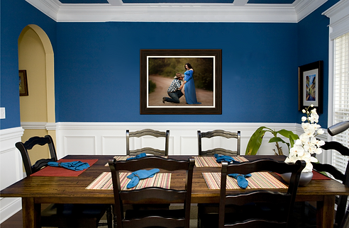 fine art canvas print displayed in the dining room from the best McKinney maternity photography studio