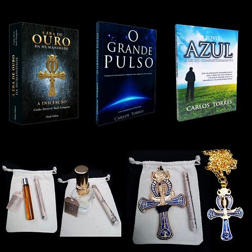 Kit Completo:  3 Livros+ Kit de Óleos Essenciais 5D +2 Cruz Ankh