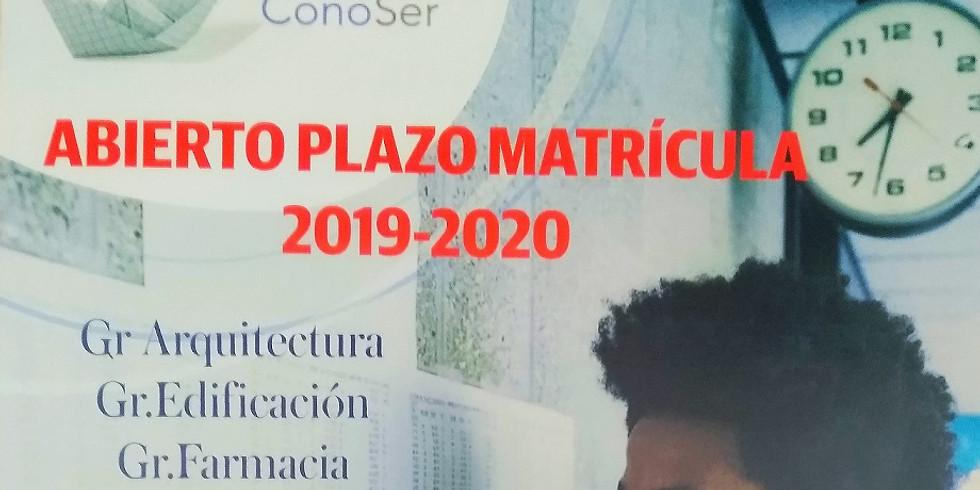 RESERVA DE PLAZA UNIVERSIDAD  2019-2020