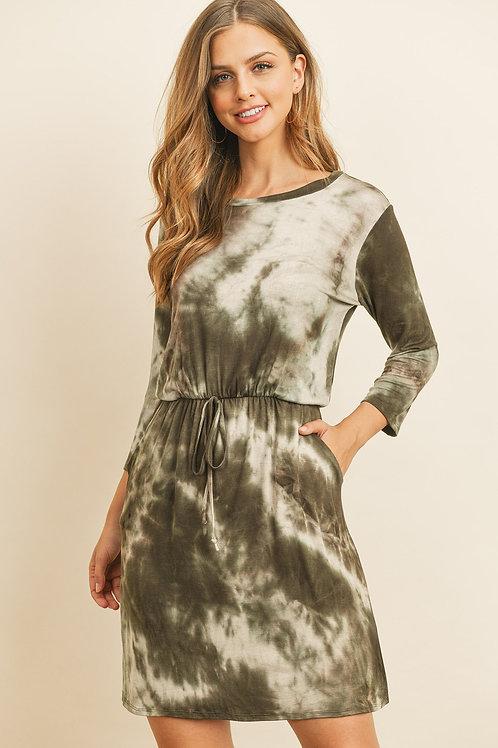 Tie Dye 3/4 Sleeve Cinch Waist Pocket Dresses